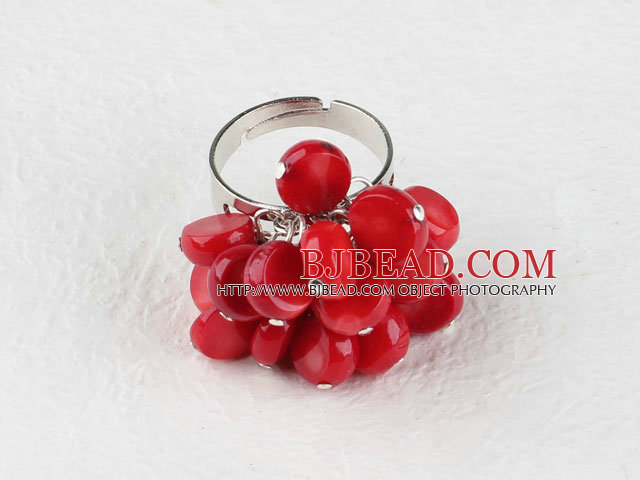 lovely red coral ring(adjustable)