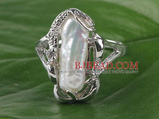 gorgeous natural white Biwa pearl ring