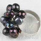 Noble style black freshwater pearl adjustable ring under $ 40