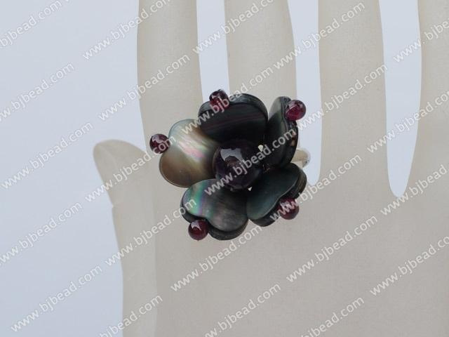 garnet amethyst black lip shell ring