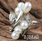 Classic Design Natural White Freshwater Pearl Ring with Rhinestone (Free Size)