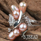 Classic Design Natural Purple Freshwater Pearl Ring with Rhinestone (Free Size)
