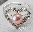 Classic Design Natural Purple Freshwater Pearl Heart Shape Adjustable Bridal Ring