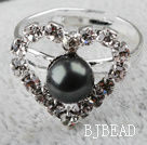 Classic Design Black Freshwater Pearl with Rhinestone Heart Shape Adjustable Bridal Ring