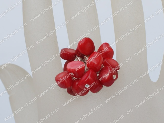 red coral adjustable ring