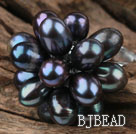 Black Freshwater Pearl Lotus Shape Adjustable Ring