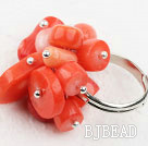Fashion Style Red Coral Adjustable Ring