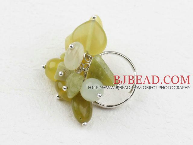 Assorted Olive Jade Adjustable Ring