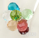 Assorted Multi Color Drop Crystal Spring Adjustable Ring