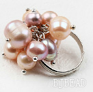 Classic Design Pink and Purple Freshwater Pearl Adjustable Ring under $ 40