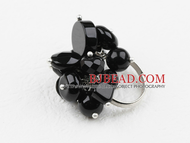 Classic Design Assorted Black Agate Adjustable Ring