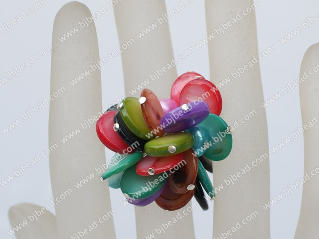 dyed pearl and multi color shell ring