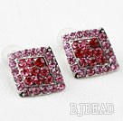 Rhombus Shape Pink and Red Rhinestone Fashion Studs Earrings