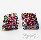 Fashion Style Rhombus Shape Multi Color Rhinestone Oversized Studs Earrings