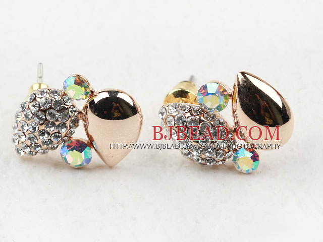 Fashion Style Lovely Drop Shape Rhinestone Gold Plated Hypoallergenic Studs Earrings