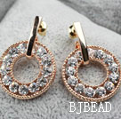 Fashion Style Donuts Shape Rhinestone Gold Plated Hypoallergenic Studs Earrings