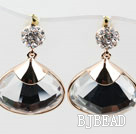 Fashion Style Big Drop Immitation Gemstone Rhinestone Gold Plated Hypoallergenic Oversized Studs Earrings