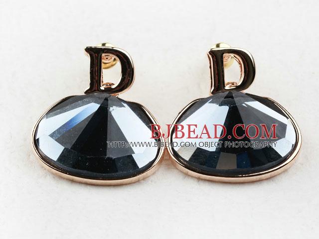 Fashion Style Big Immitation Gemstone Rhinestone Gold Plated Hypoallergenic Studs Earrings