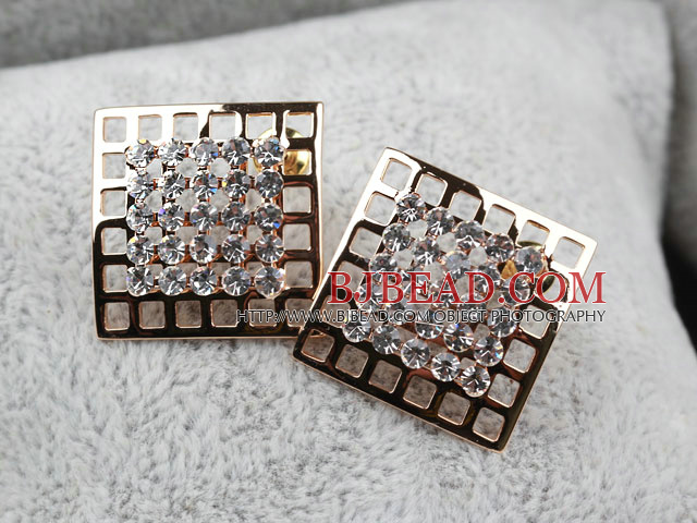 Fashion Style Hollow Square Shape Rhinestone Gold Plated Hypoallergenic Studs Earrings
