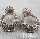 Fashion Style Ring Shape Rhinestone Gold Plated Hypoallergenic Studs Earrings