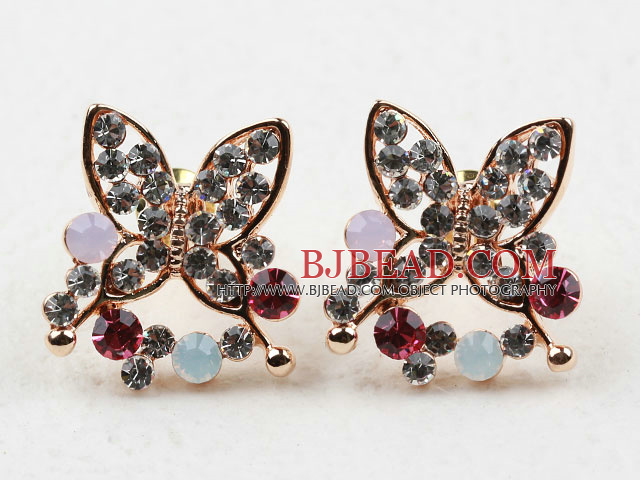 Fashion Style Butterfly Shape Multi Color Rhinestone Gold Plated Hypoallergenic Studs Earrings
