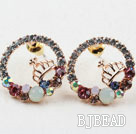 Fashion Style Ring Shape Rhinestone with Crown Gold Plated Hypoallergenic Studs Earrings under $7