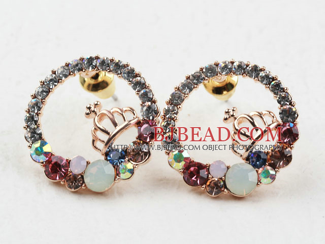 Fashion Style Ring Shape Rhinestone with Crown Gold Plated Hypoallergenic Studs Earrings