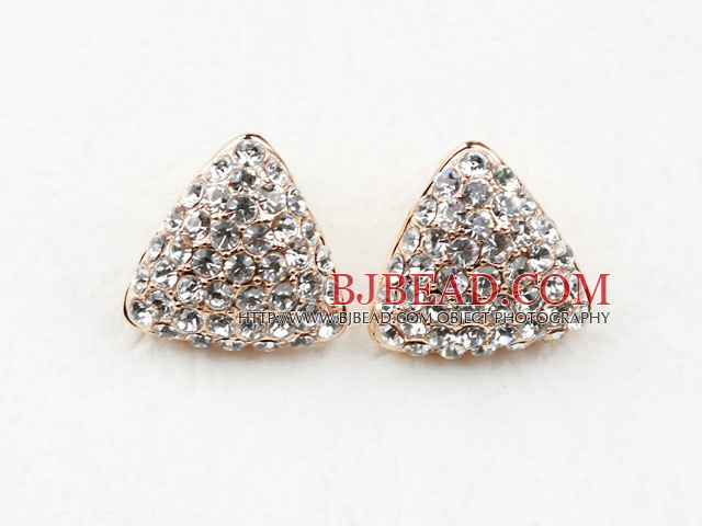 Fashion Style Triangle Shape Rhinestone Gold Plated Hypoallergenic Studs Earrings
