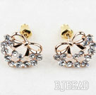 Fashion Style Bow Shape Rhinestone Gold Plated Hypoallergenic Studs Earrings