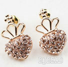 Fashion Style Heart Shape Rhinestone with Crown Gold Plated Hypoallergenic Studs Earrings