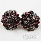 Antique Style Flower Shape Dark Red Rhinestone Studs Earrings