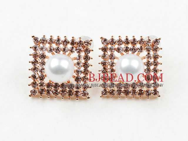 Fashion Style Square Shape Rhinestone and Immitation Round Pearl Gold Plated Hypoallergenic Studs Earrings