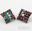 Fashion Style Rhombus Shape Multi Color Rhinstone Oversized Studs Earrings