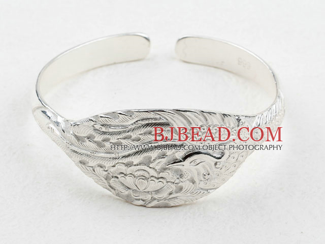 Sterling Silver Bangle (With the Pattern of Peony and Phoenix )