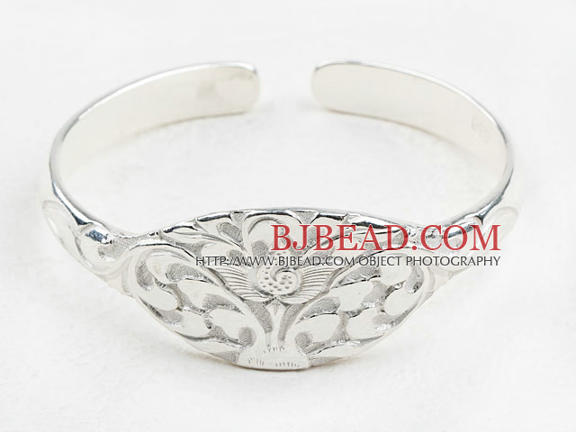 Fashion Style Sterling Silver Bangle (With the Pattern of Lotus )