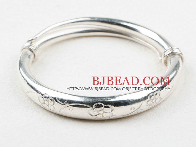 Fashion Style Sterling Silver Bangle (With the Pattern of Plum Blossom )