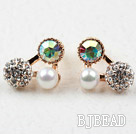 Triangle Shape Gold Plated Immitation Pearl and Rhinestone Hypoallergenic Studs Earrings