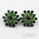 Flower Shape Imitation Emerald Rhinestone Studs Earrings