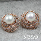 Immitation Round Pearl with Hat Shape Rhinestone Gold Plated Hypoallergenic Studs Earrings