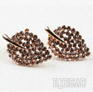 Fashion Style Leaf Shape Rhinestone Gold Plated Hypoallergenic Studs Earrings