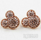 Fashion Style Mickey Shape Rhinestone Gold Plated Hypoallergenic Studs Earrings