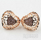 Fashion Style Hollow Heart Shape Rhinestone Gold Plated Hypoallergenic Studs Earrings