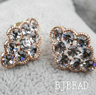 Fashion Style Cloud Shape Rhinestone Gold Plated Hypoallergenic Studs Earrings