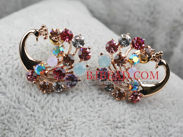 6517e687b Fashion Style Peacock Shape Multi Color Rhinestone Gold Plated  Hypoallergenic Animal Studs Earrings
