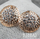 Fashion Style Round Shape Hollow Rhinestone Gold Plated Hypoallergenic Studs Earrings
