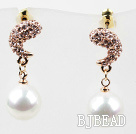 Immitation Round Pearl and Moon Shape Rhinestone Gold Plated Hypoallergenic Studs Earrings
