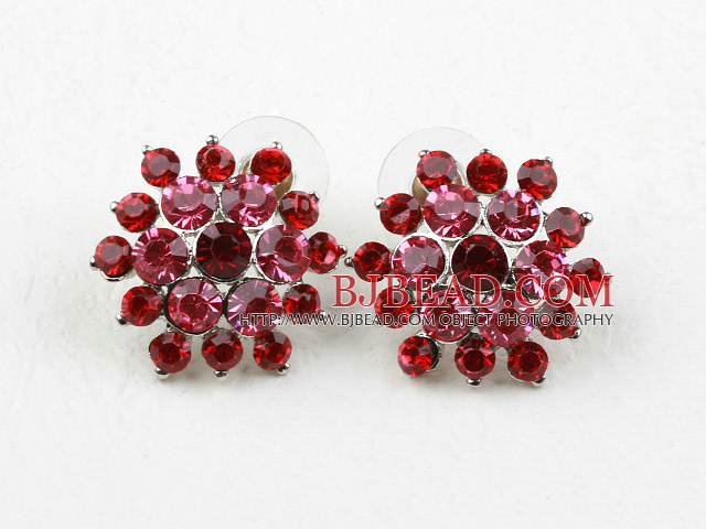 Fashion Style Flower Shape Imitation Ruby Rhinestone Studs Earrings