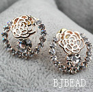 Fashion Style Hollow Rose Flower Shape Rhinestone Gold Plated Hypoallergenic Studs Earrings