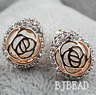 Fashion Style Hollow Rose Flower Strass Vergulde hypoallergeen Oorknopjes