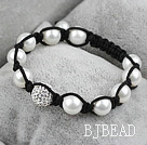 White Seashell Beads and Rhinestone Ball Woven Shamballa Bracelet